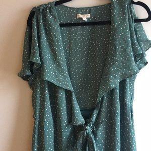 Green Polka Dot Wrap Dress